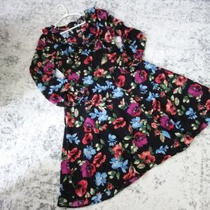 Lulus Black Floral Flare Ruffle Neck Dress